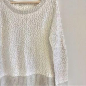 Loft White Fuzzy Wool Sweater